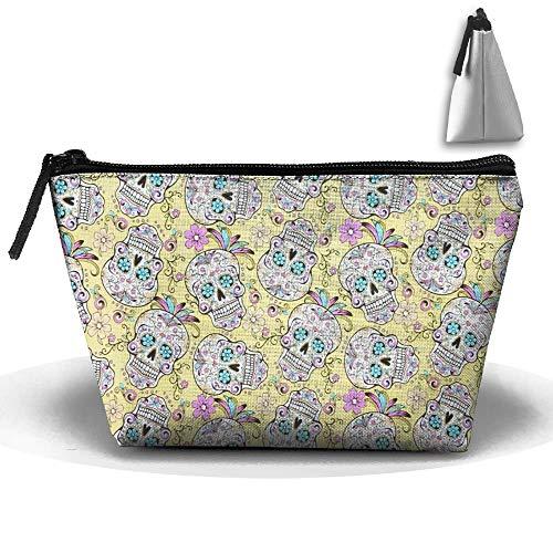 Gelb-Zucker-Totenköpfe Oxford Cloth Wash Make-up Bags Kulturbeutel für Damen -
