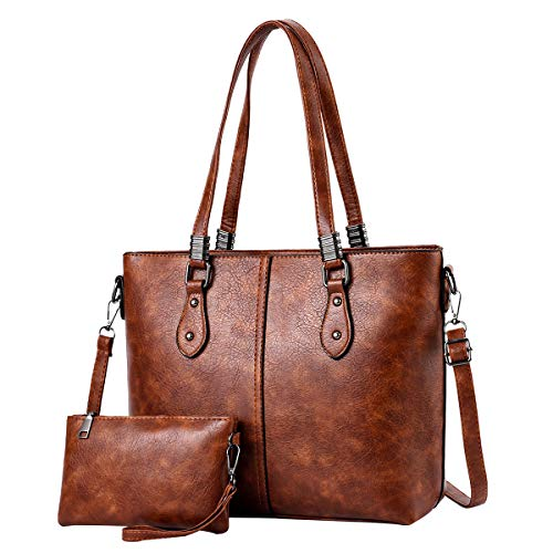 I IHAYNER Damen Handtaschen aus PU-Leder mit großer Kapazität Retro Vintage Top-Griff Casual Tote Umhängetaschen - Hellbraun PERSEUS