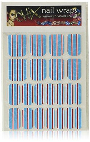 Chix Nails Stripes Minx - Adhesivos de vinilo para uñas, diseño de rayas, color azul, burdeos y blanco