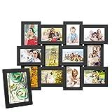 MVPOWER MDF Combinaison de Cadre Photo,Cadre Photo-Paroi Murale, Décoration Maison et Salle Capacité de 13 Photos Noirs...
