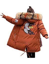 Minetom Damen Winterjacke Mantel Daunenjacke Lang Parka Jacke Winter  Outwear Embroidered Fashion Pattern Wärme Mit Fellkapuze 76c12f56c5
