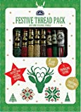 "DMC, kit ""Festive Thread Pack"", 9 matassine da 8 m in colori assortiti, schema festivo e alfabeto natalizio"