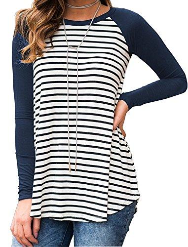 Shelers Damen Gestreift Einfarbig Raglan Langarm Baseball Sport T-Shirt Tunika Sweatershirt Bluse Tops (Raglan-baseball-jersey)