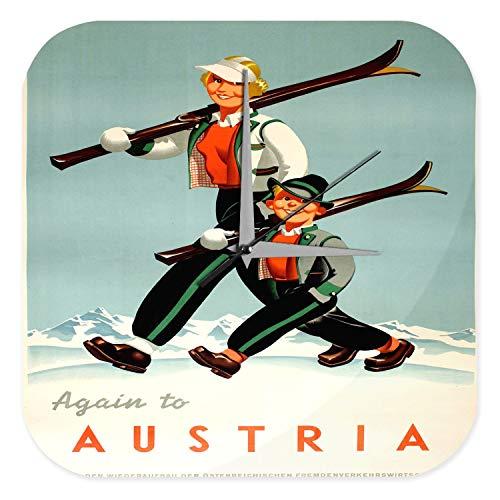 LEotiE SINCE 2004 Wanduhr mit geräuschlosem Uhrwerk Dekouhr Küchenuhr Baduhr Welt Reise Österreich Skigebiet Frau Junge Ski Wand Deko Uhr Vintage Retro