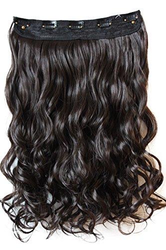 PRETTYSHOP 70cm oder 55cm Clip In Extensions Halbperücke Haarverlängerung Haarverdichtung Haarteil hitzebeständig wie Echthaar div. Farben (55cm schokobraun #2 C52-1) 22 In Extensions Echthaar