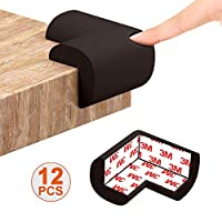 Corner Protectors for Kids Small Brown Corner Guards for Furniture, Table, Desk, Beds, Walls Baby Safety Adhesive Edge Bumper Protector, 12pcs