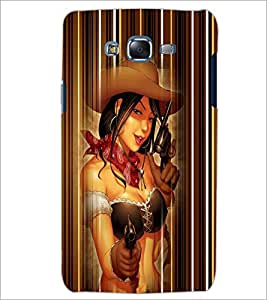 PrintDhaba Gun Girl D-4528 Back Case Cover for SAMSUNG GALAXY ON 7 (Multi-Coloured)