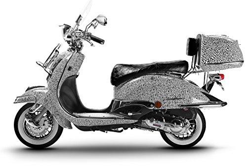 Retroroller Motorroller Roller Retro Scooter 50 ccm - 25 KmH Mofa EasyCruiser ZEBRA (Burnout Zebra)