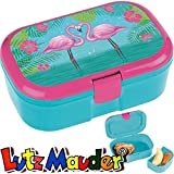 Lunchbox * FLAMINGO plus WUNSCHNAME * für Kinder von Lutz Mauder // Brotdose mit Namensdruck // Hawaii Vesperdose Brotzeitbox Brotzeit (ohne Namen)