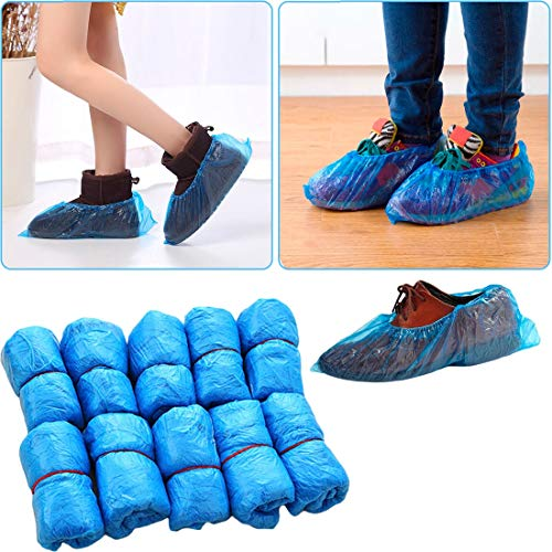 Spatter - 100pcs Plastic Disposable Shoe Covers Medical Waterproof Boot Blue Color Overshoes Mud Proof Rain - Look Pack Luggage Kids Travel Through Easy Real Bulk Step Snow Construction M Winter Overshoe