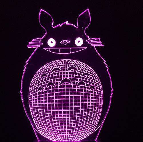 Mein Nachbar Totoro Buntes 3D Nachtlicht Led Augenschutz 3D Kleine Tischlampe Dekoration Weihnachtsgeschenk