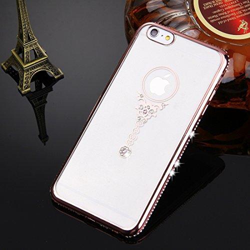 Wkae Case & Cover Pour iPhone 6 & 6s diamant Encrusted Pendulum Motif Electroplating Cadre étui de protection TPU ( Color : Rose Gold ) Rose Gold