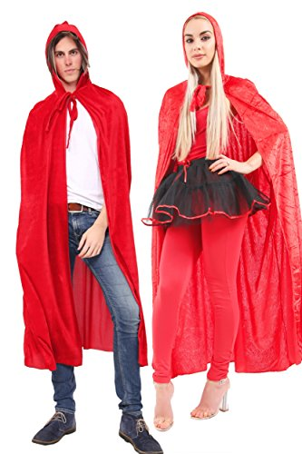 WickedFun® Adults Men/Women Unisex Red Velvet Hooded Cape Halloween Costumes Vampire Witches Full Length Cloak Fancy Dress 65 Inch Long