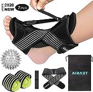 2020 New Upgraded Black Night Splint for Plantar Fascitis, AiBast Adjustable Ankle Brace Foot Drop Orthotic Br