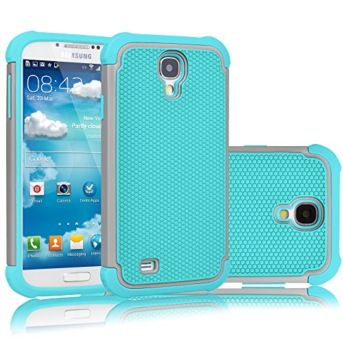 tekcoo für Galaxy S4 Fall, [tmajor Serie], Hybrid Gummi Kunststoff Impact Defender Rugged Slim Hard Case Cover Shell für Samsung Galaxy S4 S IV i9500 GS4 alle Netzbetreiber, A Grey/Turquoise (Fall S4 T-mobile)