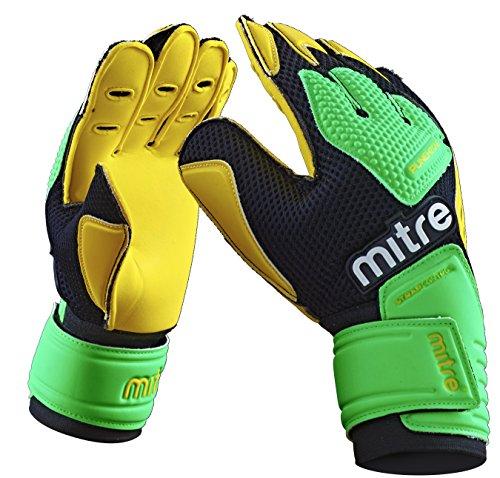 Mitre Delta BRZ Torwarthandschuhe, Yellow/Green/Black, Size 11 -