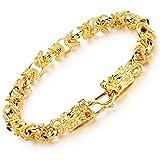 Fate Love Impressionnante pour homme Plaqué or 18K Bracelet Bracelet chaîne avec fermoir à double dragon