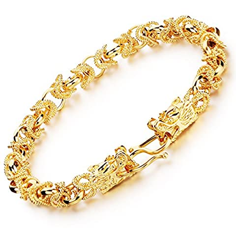 Fate Love Amazing Mens 18k Gold Plated Wrist Chain Bracelet with Double Dragon Clasp