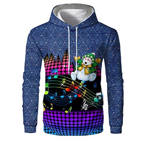 Qinhanjia Männer Frauen Lustige Weihnachten Hässliche Pullover 3D Grafik Kapuzenpullover Sweatshirts für Xmas Party Plus Size, 3D Print Langarm Weihnachten Sweatshirt Hoodie Top (Navy, XL) -
