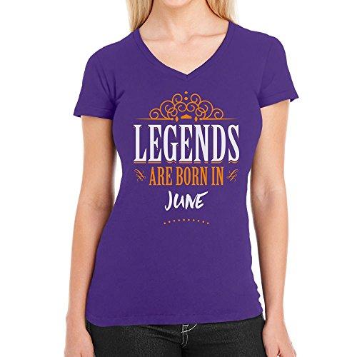 Legends are born in Juni - Geschenke Damen T-Shirt V-Ausschnitt Lila