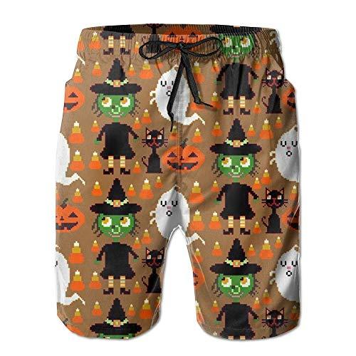 r Halloween-Hexen-Männer mit Taschen trocknen schnell Sommer-Shorts-Badehose,Größe XXL ()