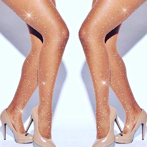 SHUN-BAO, Frauen Bling Fishnet Strumpfhosen Strumpfhosen Glitter Strümpfe Nylons Lady Strümpfe Sexy Crystal Fishnet Strass Strumpfwaren (Color : Skin Stockings) (Mädchen Strumpfhosen Sparkle)