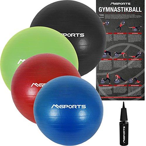 Gymnastikball Premium Anti Burst inkl. Pumpe 55 cm - 105 cm Sitzball - Fitnessball inkl. Übungsposter Medizinball (65 cm, Anthrazit)