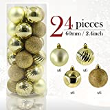 Valery Madelyn 24 Pieces 60mm Winter Wishes Silver Shatterproof Christmas Tree Baubles Ball Ornaments Decorations (white gold)