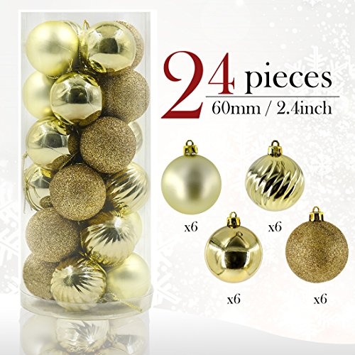 Valery Madelyn 24 Pieces 60mm Essential Gold Shatterproof Christmas Tree Baubles Ball Ornaments Decorations for Holiday Wedding Party, String Pre-Tied, Themed with Tree Skirt (Not Included)