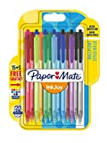 Paper Mate InkJoy 100RT, bolígrafo retráctil, punta media de 1 mm y alegres colores surtidos, paquete de 15 + 5 (1956602)