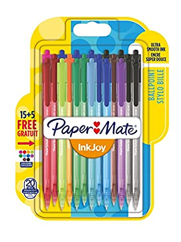 PaperMate InkJoy Retractable Ballpoint Pen with 1.0 mm Medium Tip - Assorted Standard Colours, Pack of 20