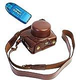 First2savvv XJD-J5-HH10G10 marron oscuro Calidad premium Funda Cámara cuero de la PU cámara digital bolsa caso cubierta con correa para Nikon 1 J5 con lente 10-30mm + Lector de tarjetas SD