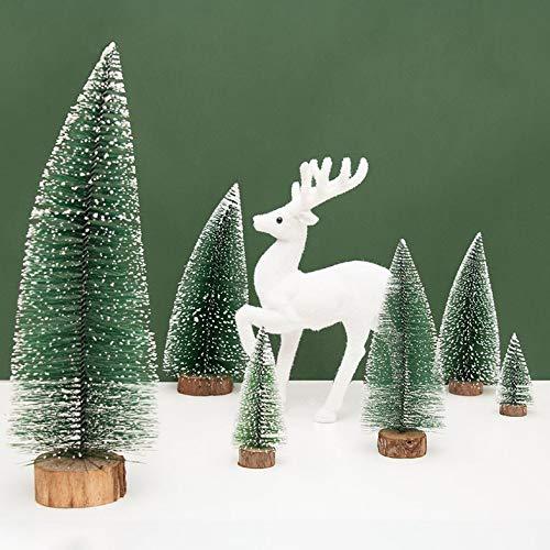 ouying1418 Mini Pine Needles Weihnachtsbaum Bonsai Sticky White Snow Beflockung Bäume