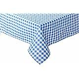 Landhaus Tischdecken in Karo Farbe und Größe wählbar 100% Baumwolle (blau-weiß kariert, 130x220 cm eckig)