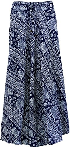 Guru-Shop Hippierock, Maxirock, Damen, Blau, Synthetisch, Size:40, Lange Röcke Alternative Bekleidung