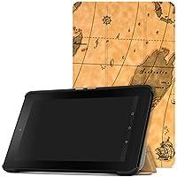MoKo Fire 2015 7 Zoll Hülle - Ultra Slim Lightweight Schutzhülle Smart Cover Case mit Standfunktion für Amazon Fire Tablet (Vorherige 5th Generationeration - 2015 Modell) Tablet, Map H
