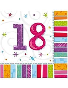 16 Servietten 18.Geburtstag 3lg. 32,7cm x 32,7cm Zahl 18