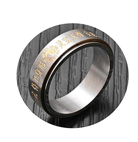 Bishilin Titan Herren Ringe Titanring Ying Yang Retro Männer Ring Partnerring Gold Gr.65 (20.7)