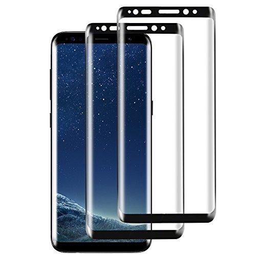 Preisvergleich Produktbild Samsung Galaxy S8 Panzerglas Displayschutzfolie,  [2 Stück] 3D Touch Kompatibel Displayschutzfolie 9H Härtegrad,  Anti-Öl,  Kratzer und Wasser Blasenfrei,  Panzerglasfolie für Galaxy S8 [Schwarz]