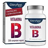 GloryFeel Vitamina B Complex Alto Dosaggio - VINCITORE DEL CONFRONTO 2019* - 200 Compresse - Vitamine B1 B2 B3 B5 B6 B7 (Biotina) B9 (Acido Folico) B12 - Prodotto in Germania