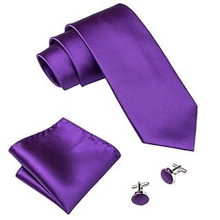 Barry.Wang Men Ties Pocket Square Cufflinks Silk Necktie Dark Purple