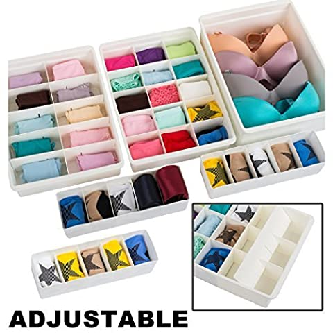Uncluttered Designs Adjustable Drawer Organizers (6 Set) With Customizable Dividers In Stackable Durable Plastic For Underwear Crafts Baby Clothes Office Bathroom & Under Sink Storage (White)