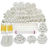 Jerbro 68 pcs Kuchen Dekoration Toolset Fondant-Kuchen Ausstechform Icing Blume modelliert Werkzeuge 21 Sets