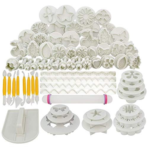 Jerbro 68pcs Cake Decoration Tool Set Fondant Cake Cookie Cutter Icing Flower Modeled Tools 21 Sets