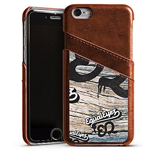Apple iPhone 5 Housse Étui Silicone Coque Protection Equaleyez Écriture Touche du bois Étui en cuir marron