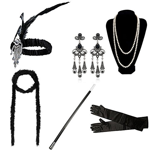 (DRESHOW 1920er Jahre Flapper Gatsby Kostüm Zubehör Set Vintage Stirnband Ohrringe Halskette Handschuhe Zigarettenspitze)