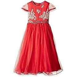 Biba Girls' Dress (KW1761_Rose Pink and Off White_9)