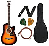 #4: Juarez JRZ38C 6 Strings Acoustic Guitar 38 Inch Cutaway, Right Handed, 3TS Sunburst with Bag, Strings, Picks and Strap