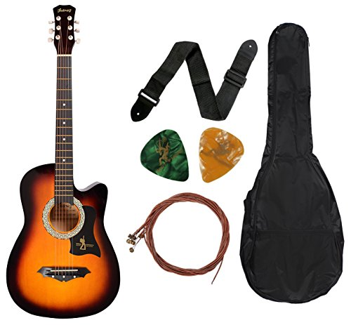 Juarez JRZ38C 6 Strings Acoustic Guitar 38 Inch Cutaway, Right Handed, 3TS Sunburst with Bag, Strings, Picks and Strap