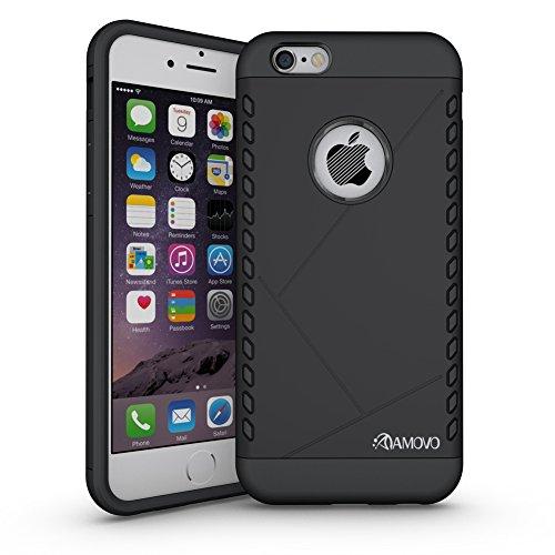 amovo iPhone 6S Plus Fall, iPhone 6Plus Case [Dual Layer] [Hybrid Defender] Apple iPhone 6S Plus/iPhone 6Plus Schutzhülle mit HD Displayschutzfolie iPhone 6S Plus Telefon Fall, plastik, schwarz, iPh Schwarz